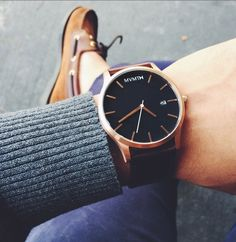 Rose Gold x Brown Leather Men's Watch x Boat Shoes