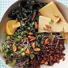 Avocado Dishes, French Green Lentils, Avocado Dressing, Lentil Salad, Poached Eggs, Dressing Recipe, Kale, Food Processor Recipes, Vegetarian