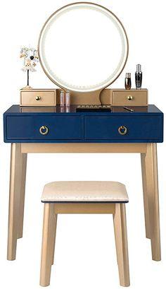 Makeup Table With Mirror, Vanity Table Set, Makeup Table Vanity, Makeup Vanities, Makeup Dressing Table, Dressing Table Set, Wooden Bedroom, Modern Bedroom Furniture, Black Vanity Set