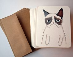 Hand-drawn cards from a grumpy cat.