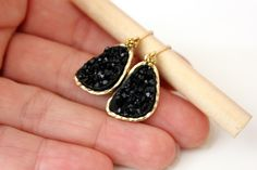 Druzy black earrings  rich color by anthology27 on Etsy, $19.95