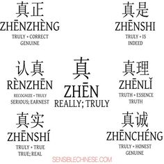 真 (zhen) verdaderamente 真正 (zhenzheng) genuino 认真 (renzhen) serio 真实 (zhenshi) verdadero 真是 (zhenshi) en efecto 真理 (zhenli) verdad 真诚 (zhencheng) genuino
