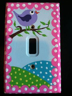 Hayley+Bird+Switch+plate+cover..HAND+PAINTED+with+by+memearts,+$28.45