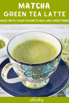Matcha Latte - Creamy Latte with Green Matcha Tea Recipe is a beautiful healthy warm beverage for the winter and holiday gatherings! Matcha Green Tea Latte, Matcha Milk, Green Tea Recipes, Milk Green Tea Recipe, Green Tea Powder, Tea Cakes, Dairy, Brunch Recipes, Recipes