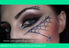 Cool Halloween look - Rhinestones accent sparkly spider web makeup complete with a crystal spider by Stacey Makeup. Halloween Spider Makeup, Spider Web Makeup, Halloween Eyes, Halloween Looks, Easy Halloween, Spider Witch Makeup, Witch Face Paint, Spiderman Makeup, Maquillaje Halloween
