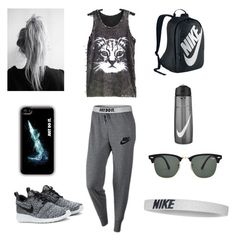 Exercise day! by woahitsmariah on Polyvore featuring polyvore, fashion, style, NIKE and Ray-Ban