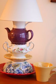 this teacup lamp doesnt drill holes..looks pretty easy and kinda cute!