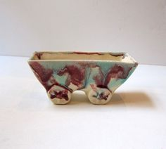Antique art deco cream purple and aqua glazed drip ware hand built pottery cart posy vase