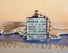 Dictionary Frolic Scrabble Necklace with Ball by NostalgicChic