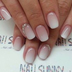 ombre nails with beading accents