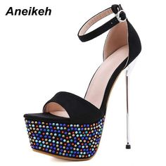 Curvy right with this Shining | High Heel everyone will turn! Free Delivery Sexy Sandals, Black Sandals, Stiletto Heels, Shoes Heels, Stripper Shoes, Occasion Shoes, Platform High Heels, Black High Heels, Summer Shoes