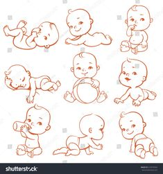 Set with cute little baby in diaper. Sleeping, eating, playing, crawling baby. Newborn girl or boy with bottle of milk. Happy child in different situations. Monochrome lineart vector illustration.