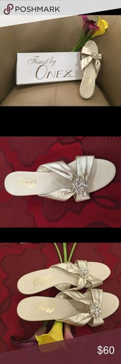 Gold Handmade Onex Leather Rhinestone Leather Straps and a Glitzy Rhinestone Center   with 3 inch heels that are lightly cushioned so you can stand all night.  Never Worn Onex Shoes Heels