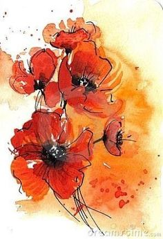 Abstract watercolor poppies by Finetti - with black pen outline by amalia
