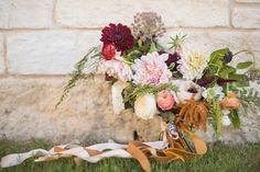 Southern Romance Wedding - Ivory, Gold, Blush, Emerald, Red Wedding - Bridal Bouquet