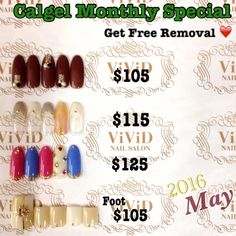 May 2016  $105 Elegant and sweet nail with Chocolate colour♥︎ $115 Gray is popular colour in winter season! $125 Let's leading role of the Vivid Sydney with vivid color and stone☆ Foot$105 mature looking blocking nail art with gold line tape and Swarovski stones♩ (With mini pedicure ex$15,With full pedicure ex$35)  Calgel monthly special*Free Removal of Calgel By choosing one of the design below and get free removal($30) The colour could be changed with your preference!