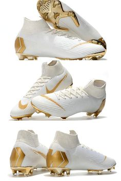 New Nike Mercurial Superfly 6 Elite FG World Cup - White Gold - Soccer Photos Cool Football Boots, Football Shoes, Gold Football Cleats, Football Things, Football Stuff, Adidas Soccer Boots, Nike Boots, Girls Soccer Cleats, Nike Cleats