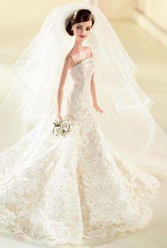 >Carolina Herrera Bride Barbie.(b) Platinum Label. RD:10/1/2005.  PC:J6771.
