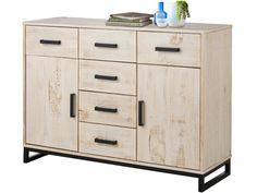 Sideboard Kommode SATURN 120 cm Kiefer massiv weiß gewischt Modern Industrial Design - Kiefermöbel - Möbel versandkostenfrei online bestellen auf Loft24