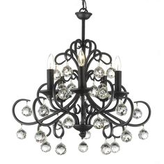 Bring opulent style to your living space with this stunning iron and crystal chandelier. The five delicate lights provide ample lighting and the intricately worked wrought iron has a beautiful black finish, complimented by the small crystal globes.