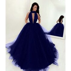 Sexy Halter Top Tulle Ballgowns Prom Dresses 2018 Backless Evening... ❤ liked on Polyvore featuring dresses, sexy evening dresses, sexy halter tops, blue cocktail dress, blue dress and blue evening dresses