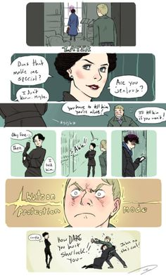 What if i just redraw all the scenes in ASiB but with jawn constantly cockblocking irene that wouldn't be obsessive would it  also i was watching this scene again and thought it was kinda dumb of john to just get in the mystery car without actually SEEING mycroft, i mean c'mon john  but then i realized sherlock probably saw from the window and realized there was something off and followed after him immediately and i was all like daawww you luv jawn  i am ashamed of nothing