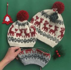 Deer Christmas Cap Recipe – The Best Ideas Baby Hats Knitting, Knitting For Kids, Knitting For Beginners, Baby Knitting Patterns, Knitting Designs, Knitting Yarn, Free Knitting, Knitted Hats, Nordic Pattern