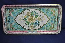 """VTG Daher Decorated Ware 14 1/2""""X 8"""" Metal Tray Made In England Floral Pink"""