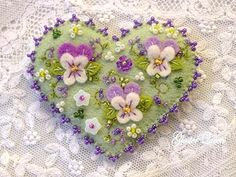 Hand beaded pansy felt pin