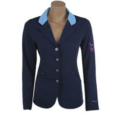 """Made from our ultra light weight ShowTech fabric, this jacket not only looks fabulous but supports a wonderful organization as well! With every purchase, a donation will be made to JustWorld International which helps give underprivileged kids a """"leg up""""!   Available in child 4-14 and Adult XS-L  Jacket Details: 4 button navy jacket Light blue collar and accents on back Purple piping and embroidery JustWorld logo on left upper arm zipper front pockets hidden interior pocket"""