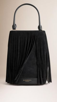 Burberry The Bucket Bag In Suede Fringing