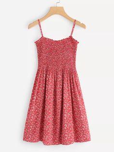 Calico Print Pleated Cami DressFor Women-romwe