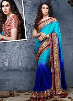 Low Price Blue Georgette Saree Collection -   http://www.suratwholesaleshop.com/10045-Pretty-Georgette-Red-Embroidered-Work-Designer-Saree?view=catalog   #wholesalesaree #Bulksaree #Designersaree #Suratwholesaleshop