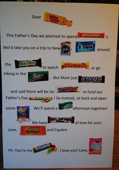 Sweet Father's Day Card for a candy filled gift basket!