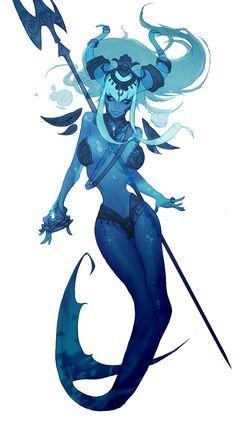 trident wielding mermaid; coolest mermaid I've seen