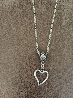 FREE SHIPPING Oxidised Silver Heart necklace Silver by SAjolie