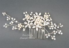 Wedding Hair Accessories,Large Bridal Hair Combs. Pearl Rhinestone Crystal Vintage Style Wedding Hair Pieces Fascinator Hair Vine H1024. $68.00, via Etsy.