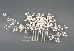 Wedding Hair Accessories,Large Bridal Hair Combs. Pearl Rhinestone Crystal Vintage Style Wedding Hair Pieces Fascinator Hair Vine H1024. $68.00, via Etsy.