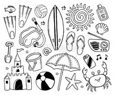 A beach-themed doodle page. - Beach and Doodles Royalty Free Beach and Doodles stock vector art & more images of flip flop - Doodle Art, Doodle Pages, Doodle Sketch, Doodle Drawings, Easy Drawings, Bujo Doodles, Doodle Lettering, Free Vector Art, Vector Graphics