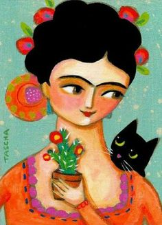 ORIGINAL acrylic painting Frida Kahlo with Black cat and by tascha Frida And Diego, Frida Art, Cactus Painting, Arte Popular, Mexican Folk Art, Cat Drawing, Rock Art, Cat Art, Painting Inspiration