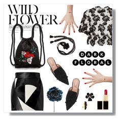 """""""Dark Floral"""" by hellodollface ❤ liked on Polyvore featuring Monique Lhuillier, FAUSTO PUGLISI, Monki, Delfina Delettrez, Betsey Johnson, Tom Ford, Kenneth Jay Lane, Alberta Ferretti and darkflorals"""