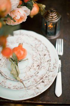 Persimmon Place Setting with VIntage Mint and Copper Patterned Plates Photography | Enchanting Autumn Woods Wedding Inspiration in Persimmon and Peach