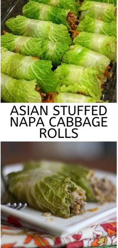 A fun twist on cabbage rolls, these Asian Stuffed Napa Cabbage Rolls are a great addition to your family dinner … dinner asian Entree Recipes, Asian Recipes, Beef Recipes, Dinner Recipes, Cooking Recipes, Healthy Recipes, Budget Recipes, Cooking Food, Potato Recipes