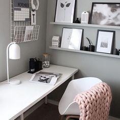 Home Office Design, Office Decor, Decor Room, Bedroom Decor, Home Decor, Monochrome Bedroom, Location Villa, Bedroom Wall Colors, My New Room