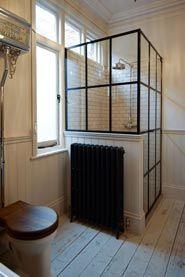 Amazing crittall shower enclosure from Creative Glass Studio in London Wet Room Bathroom, Barn Bathroom, Art Deco Bathroom, Upstairs Bathrooms, Small Bathroom, Bathroom Ideas, Family Bathroom, Washroom, Master Bathroom