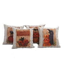 Mega TPC Home Decor Cotton Linen Square 4Pcs Pillowcase Set of 4 Happy Halloween Pumpkin Throw Pillow Sham Cushion Cover 18 x 18 >>> Visit the image link more details. Note: It's an affiliate link to Amazon