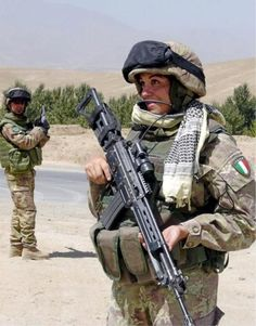 Italian soldier with AR-70/90 rifle
