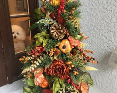 53 Inspired Thanksgiving Front Porch Decorating For This Season - Fall Topiaries, Christmas Topiary, Red Christmas, Thanksgiving Tree, Thanksgiving Decorations, Fall Tree Decorations, Autumn Decorating, Porch Decorating, Decorating Ideas