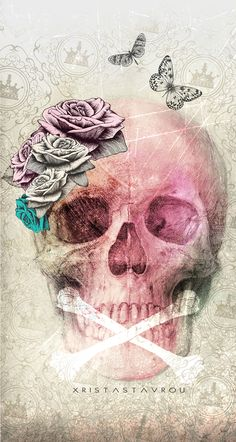 Skull Art by Xrista Stavrou could make a nice tattoo too