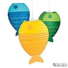 Paper Fish Lanterns (set of Fisherman Party Decorations Fish Lanterns, Hanging Paper Lanterns, Hawaiian Party Decorations, First Birthday Decorations, Table Decorations, 1st Boy Birthday, Boy Birthday Parties, Birthday Ideas, Birthday Table